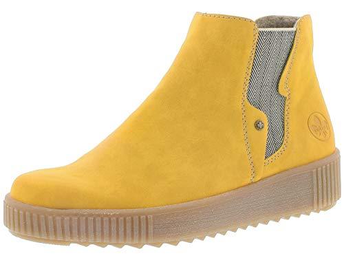 Rieker Damen Chelsea Boots Y6461, Frauen Stiefeletten,uebergangsstiefel,Schlupfstiefel,flach,Women's,Woman,Lady,Ladies,Boots,gelb (68),38 EU / 5 UK