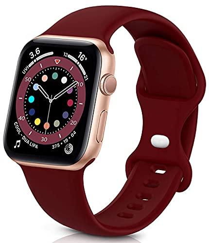 Sichy Correa Compatible con Apple Watch 44 mm 40 mm 38 mm 42 mm, Correas de muñeca de Repuesto de Silicona compatibles con iWatch Series 6/5/4/3/2/1 /SE,40mm/38mm S/M,Vino Rojo