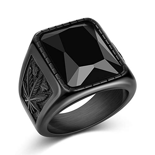 BlackAmazement 316L Stainless Steel Ring Hemp Leaf Weed Hemp Grass CZ Prong Black Punk Men Black