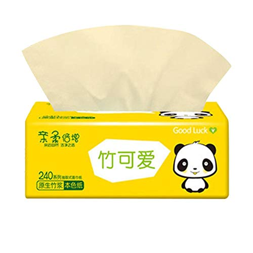 5 confezioni di asciugamani di carta piegati, 4 strati di carta velina naturale di polpa di bambù addensata, carta velina morbida per uso domestico, per hotel, ristorante, casa, bagno, bianco