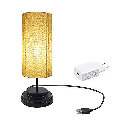 Luxvista Nachttischlampe LED Touch Tischleuchte Dimmbar mit Stoffschirm Minimalist Moderne Warmweiß 2700K Massivholz Vintage E27 Dekorative Lichter für Schlafzimmer Wohnzimmer