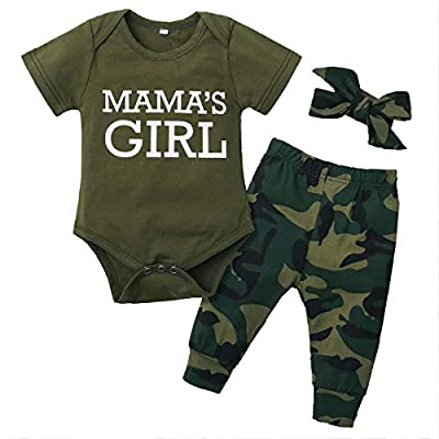 Newborn Baby Boy Girl Clothes Mommy Sayings Top Printed T-Shirt Camouflage Pants Romper Outfit Set (Army Green 2, 80(3-6 Months))