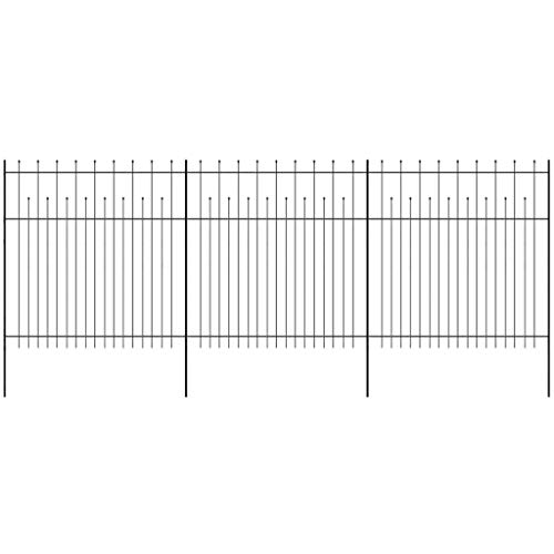 Tidyard Dekorative Metallzaun Zaun Zaunelemente aus pulverbeschichteter Gespitzt Stahl 600 x 200 cm Mit höheren und niedrigeren vertikalen Stäben,Gartenzaun Steckzaun Zaunmatten,Schwarz