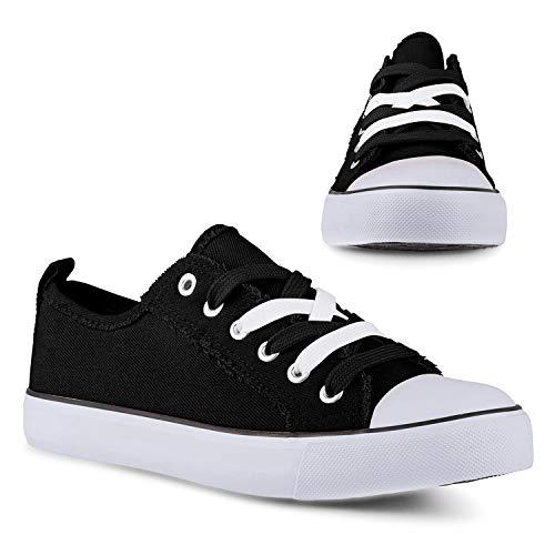 Twisted Kix 192 Low Rise Classic Canvas Fashion Sneakers für Damen mit zweifarbigen Schnürsenkeln, Schwarz (schwarz), 37 EU