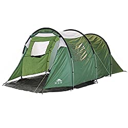 4 person tunnel tent. 1 room, 1 door, mosquito nets and sewn in groundsheet. Fibreglass poles that are colour coded. Tent material polyester. Hydrostatic head 2000mm - the higher the figure, the more waterproof the tent.