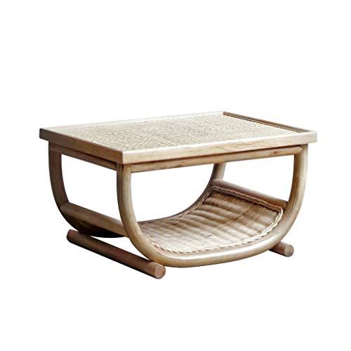 wenhui Mesas de café pequeña Mesa pequeña Paja pequeña Mesa de té Dormitorio pequeño Mesa de Comedor Simple Simple bambú y Tabla de ratán Tabla Tatami Plataforma Baja Mesa de la Mesa de ratán