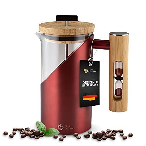 True Kitchen French Press aus Edelstahl + Glas + Bambus I Kaffeezubereiter mit Anleitung I ca. 0,5 L (für 3 Tassen) I Kaffee Presse Thermo doppelwandig isoliert I Rot und Schwarz I