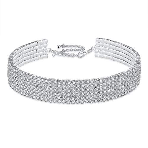 Dream Date Silver Diamond Mounted Shinning Layered Choker Necklace (Six Row)