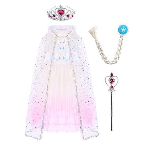 Vestido de princesa Elsa Anna para nia, disfraz de reina de las nieves, disfraz de princesa para carnaval, cumpleaos, cosplay, cosplay, disfraz de invierno, tallas 98-140 Blanco, rosa 6-7 Aos