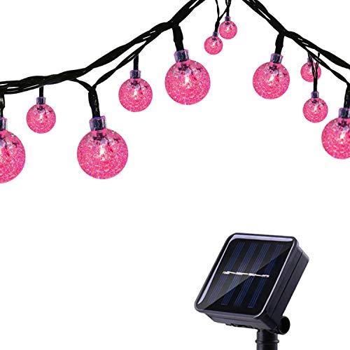 Tuokay Solar Lichterkette Außen 6,5m 30 LED 8 Modi Wasserdicht LED Außenlichterkette mit Kugel, Dekorative Beleuchtung für Garten Balkon Pavillon Terrasse Rasen Hof Zaun Hochzeit Deko (Rosa)