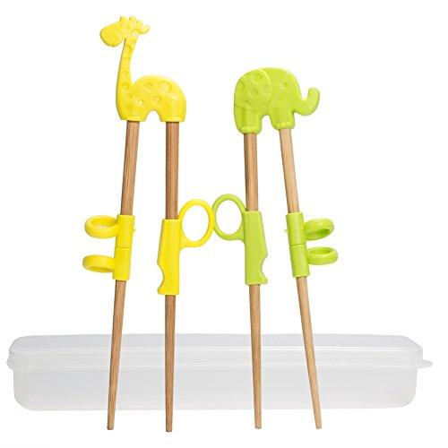 2 Paar Training Essstäbchen, uniquQ Kinder Lernen Stäbchen Tiere Lernen Stäbchen Elefant Giraffe Holz Chopsticks mit Box