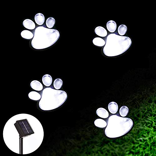 Solar Paw Print Lights, Solar Lights Outdoor Dog Paw Lights (Set of 4),Cat Puppy Animal Garden Lights Path Paw Lamp Walkway Lighting for Patio,Yard,Any Pet Lover(Solar White paw)