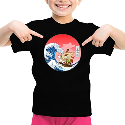 T-Shirt Enfant Fille Noir One Piece parodique La Grande Vague de Kanagawa et Le Vogue Merry : Pirates en mer du Japon. : (Parodie One Piece)