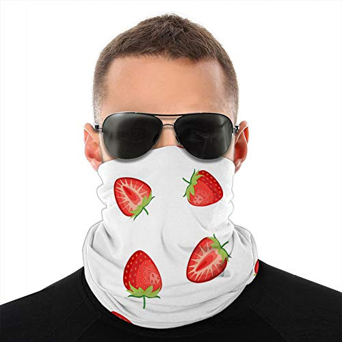 LJKHas232 784 Cover Neck Gaiter Cover Headwear Sun Cover Headband Balaclava Berries Fraise with Leaves Seamless Pattern Tube Balaclava