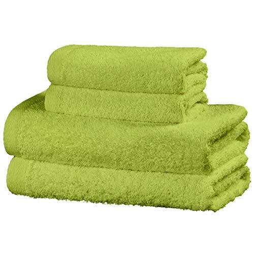 Viste tu hogar Juego de 4 Toallas Hechas 100% de Algodón, Incluye 2 Toallas de Baño y 2 de Manos, Suaves y Absorbentes, Ideales para Uso Diario y Decoración, en Color Verde.