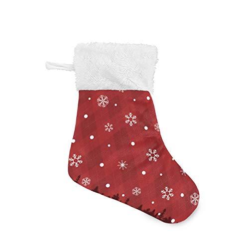 Mnsruu Calcetín de Navidad con cristales de nieve para chimenea, puerta, pared,...
