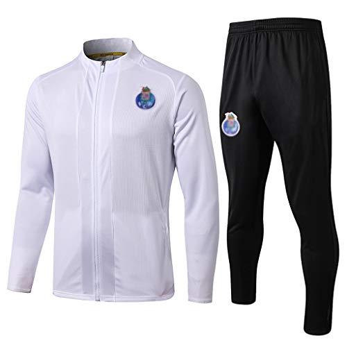 European Football Club Lang Kragen Sportfußballtraining Uniform Weiße Jacke Sweatshirt (Verschiedene Größe Choices) -CMKA0580 (Color : White, Size : XL)