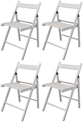 Harbour Housewares Silla plegable de madera - madera blanca - 4 sillas