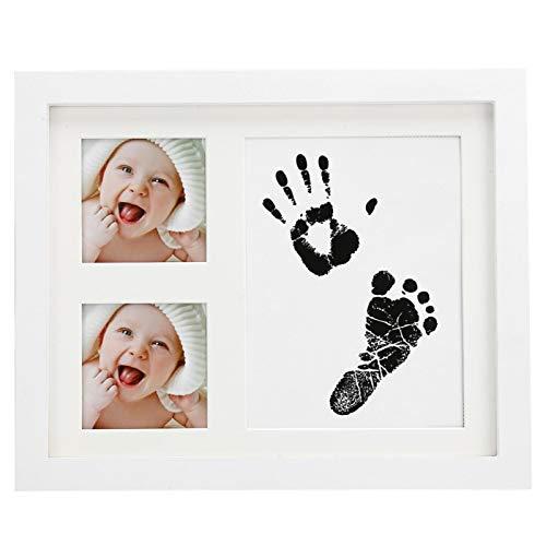 cersalt Marco de Fotos con Huellas de Manos para bebés, Kit de Huellas de 2.8 x 2.8 Pulgadas, 4 Colores Opcionales, Hermosos para Baby Showers, Regalos para Regalos de bebés(White)