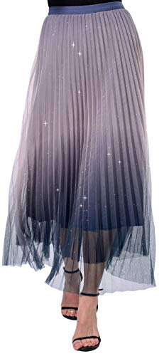 Women's Elegant Long Princess 3 Layered Mesh Blue Tulle Skirt XL