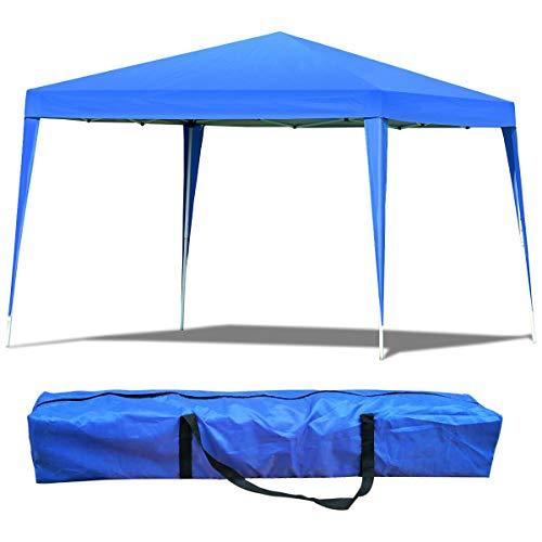 COSTWAY Gazebo Pieghevole da Giardino, Padiglione da Esterno, Tendone, Ideale per Festa Campeggio Eventi, Inclusa Borsa da Trasporto, 3 X 3 m (Blu)