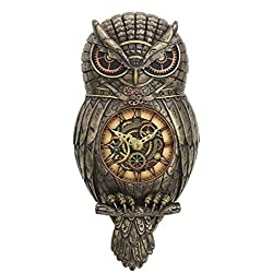 12 Steampunk Owl Pendulum Wall Clock Animal Home Decor