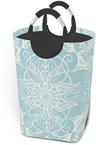 Floral Pattern In Duck Egg Blue Cream 22 7 Inches Tall Large Storage Basket Canvas Fabric Waterproof Storage Bin Collapsible Laundry Hamper