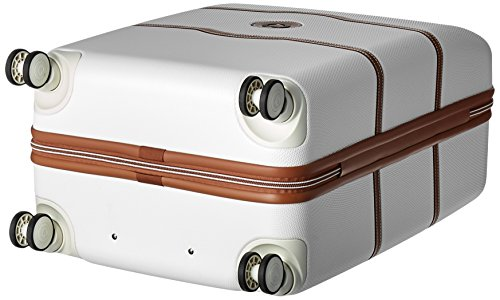 DELSEY Paris Chatelet Hardside Luggage with Spinner Wheels, Champagne White, Checked-Medium 24 Inch, with Brake