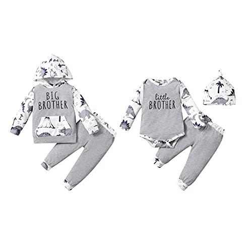Hinzonek Conjunto de ropa para niños pequeños con diseño de dinosaurios para niños pequeños y grandes hermanos (0-3 meses, Hermano Pequeño)