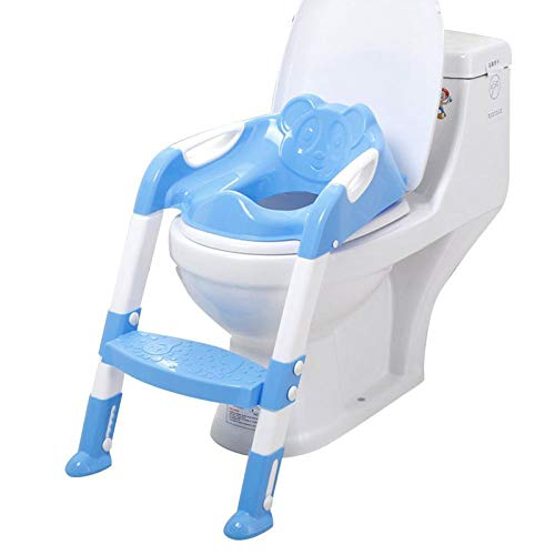 Toilet Training Seat, Adjustable Baby Safety Potty Training Seat Chair Foldable Toilet Potty Trainer with Step Ladde (Blue)