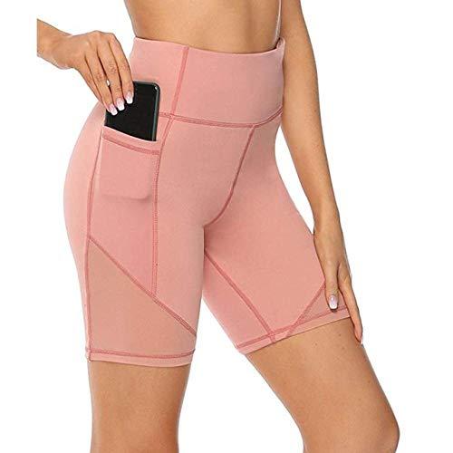 NHGFP Mujeres Pocket Gym Leggings Shorts de Yoga Sport Biker Spandex Running Sport Workout Gym Shorts para Damas-Rosado_XS