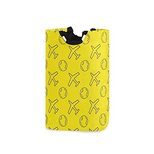 ZOMOY Multifunktionale Faltbarer Schmutzige Kleidung Wäschekorb,Nahtloses Muster Flugzeug Globus Vektor Illusration,Household Wäschebox Spielzeug Organizer Aufbewahrungsbeutel mit Henkel