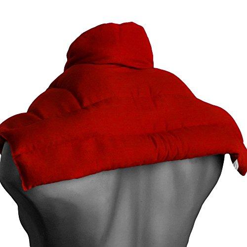 Leinsamenkissen Schulter & Nackenkissen mit Kragen, rot. Nackenwärmer Körnerkissen, Wärmekissen für Nacken, Schulter, Rücken