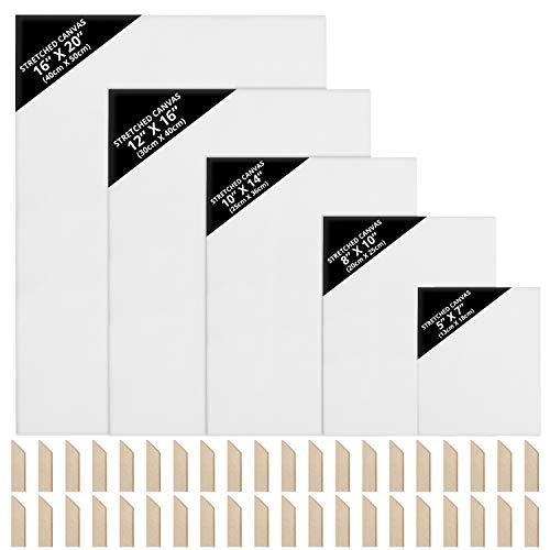Kurtzy Lienzos para Pintar en Blanco (Pack de 10/5 Tamaños) 13 x 18 cm, 20 x 25 cm, 25 x 36 cm, 30 x 40 cm, 40 x 50 cm – Lienzo Blanco Grande Preestirado con Cuñas