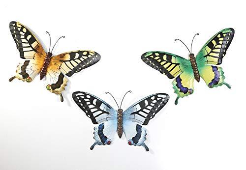 Kobolo Wand-Deko Schmetterling Schwalbenschwanz XXL - 3er Set - Metall - 49x2x30 cm