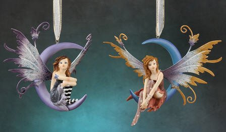 Plush Image Fairy on Moon Hanging Ornament Figurine with Hand Painted Metal Wings- 2 Piece/Set