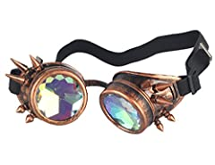 ZAIQUN Kaleidoscope Glasses Rivet Steampunk Windproof Mirror Vintage Gothic Rave Rainbow Crystal Lenses Steampunk Goggles #5