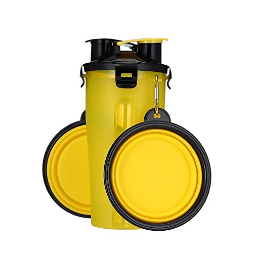 Huisdier Cup Dual-Use Cup PP materiaal/Vouwkom TPE Materiaal Outdoor Draagbare Reizen Cup Kan Houd Grain/Water Multi-Color Optioneel Geel