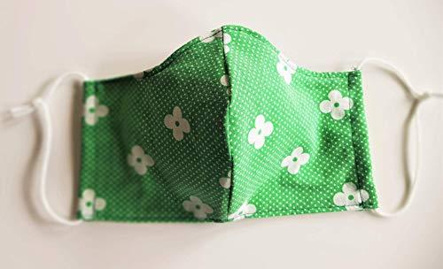 Mund- und Nasenschutz, Mundschutz, Schutzmaske aus BW-Stoff, hellgrün,Spezialgummi, Länge anpassbar, sofort lieferbar aus DE