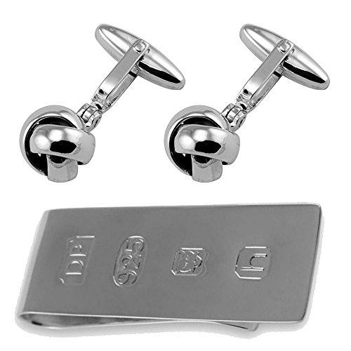 Select Gifts Sterling Silber Manschettenknöpfe Knoten James Bond Geld Clip Box Set