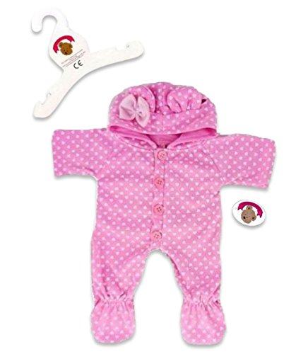 Build Your Bears - Tutina con Cappuccio e Bottoni, per Orsetti Peluche di 38 cm, Colore: Rosa