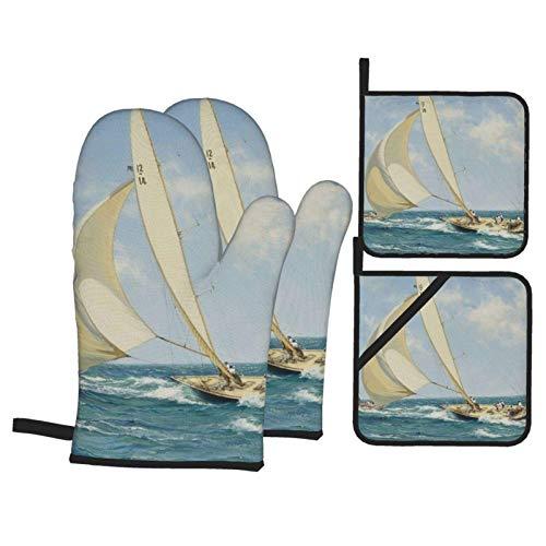 Guantes y porta ollas para horno de paisaje de barco de vela, superficie antideslizante, guantes de cocina resistentes al calor para microondas para hornear, cocinar, barbacoa