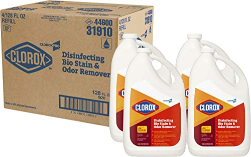 CloroxPro Disinfecting Bio Stain & Odor Remover Refill, 128 Ounces Each (Pack of 4) (31910) Packaging May Vary