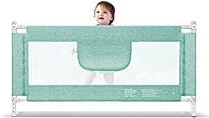 Playpens Extra Tall Safety Baby Bed Rail Bed Guard Childs Toddler Bedguard Folding Mesh Rail Large 150-220cm  Green  Height 90cm  Size 200cm