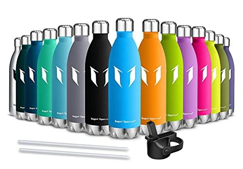 Super Sparrow Botella Agua Acero Inoxidable - Botella Agua Niños - 350ml/500ml/750ml - Botella Termica + Paja (2 Tapones) - Sin BPA, para Niños & Adultos, Deporte, Oficina, Yoga, Ciclismo