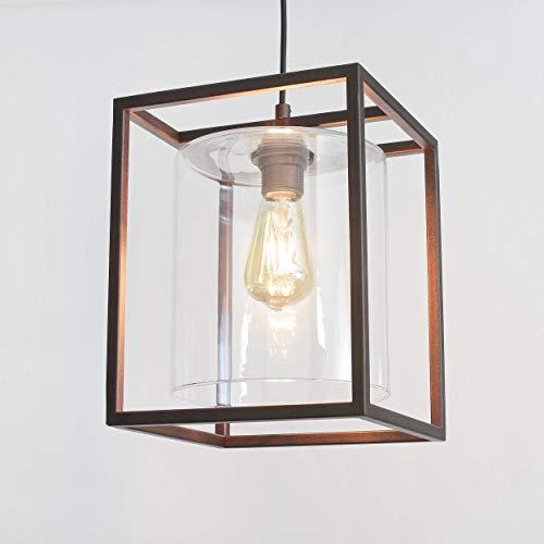 Geschmackvolle Hängeleuchte in Braun Bauhausstil 1x E27 bis zu 60 Watt 230V aus Glas & Küche Esszimmer Pendelleuchte Hängelampe Pendellampen Beleuchtung innen