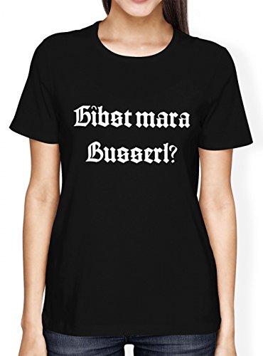 Oktoberfest Wiesn Premium T-Shirt | Dirndl | Gibst Mar a Busserl? | Tracht | Frauen | Shirt, Farbe:Schwarz (Deep Black L191);Größe:L