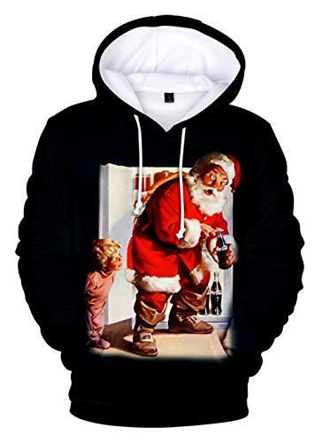 HUASON Kreativer Weihnachts Pullover Weihnachtsmann Grinch 3D Hoodie Lustiger Bequemes Langarm Sweatshirt für Herren und Damen(L)