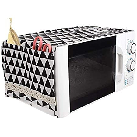 Zollyss Microwave Oven Dust Proof Cover with Side Puch Bag Cotton Linen Kitchen Storage Bags; 85 x 35 cm (Black , Standard )