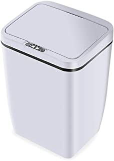 Automatic Sensor Trash Can 12L Capacity Touch Free Kitchen Trash Can with Removable Inner Bucket, Stainless Steel Waste Bin for Bathroom Office Living Room (White)